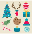 flat design christmas items collection vector image