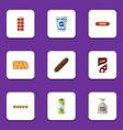 flat icon eating set of smoked sausage yogurt vector image vector image