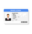 flat man driver license plastic card template vector image