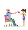 girl takes care of grandfather granddaughter vector image