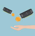 hand receive bitcoin ethereum from display card vector image vector image