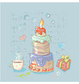 happy birthday set cute elements with big cake vector image vector image