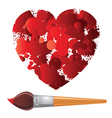 heart and paintbrush vector image vector image