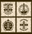 lighthouse four nautical vintage emblems vector image