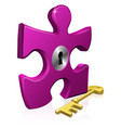lock and key jigsaw piece vector image vector image