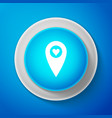 map pointer with heart icon isolated on blue vector image vector image