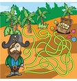 Maze Game - Pirate Try to Find Treasure Box vector image