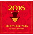 New Year postcard design gold text with monkey vector image