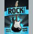 rock festival flyer design template with guitar vector image