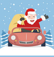 santa claus with red car vector image