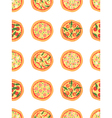 Seamless pattern with different pizza background vector image vector image