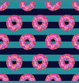seamless pattern with yummy donuts on striped vector image vector image