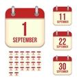 September calendar icons vector image vector image