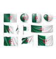 set algeria flags banners banners symbols flat vector image vector image