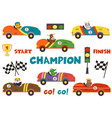 set of isolated classic old race car with animals vector image