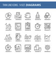 set of thin line flat icons diagrams vector image