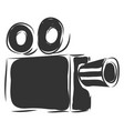 simple black vintage camcorder on white background vector image