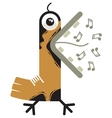 singing cartoon bird vector image vector image