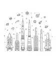 spacecraft collection in flat design vector image