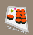 sushi rolls flat food and japanese seafood sushi vector image vector image