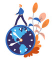 time management and deadline man on clock dial vector image