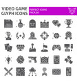 video game glyph icon set play symbols collection vector image