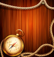 vintage background with a compass and marine rope vector image vector image