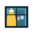 window light lamp and frames wall isolated icon on vector image