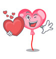 with heart ballon heart mascot cartoon vector image
