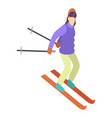 young girl is riding a sky in stylish bright vector image vector image