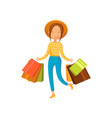 young happy woman wearing in a hat with shopping vector image vector image