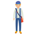 young male student wearing blue hat and pants vector image vector image