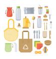 zero waste eco friendly utensils flat icons set vector image