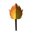 torch with a burning fire hot flame vector image