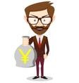 Businessman holding a bag of money vector image