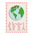 color pastel frame with world map and set of the vector image