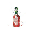 Watercolor Red Bottle vector image