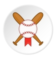 Baseball bat and ball icon cartoon style vector image vector image