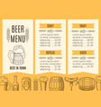 beer menu template vector image vector image