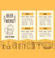 beer menu template vector image