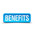 benefits blue 3d realistic square isolated button vector image vector image