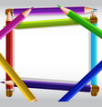 border template with color pencils as frame vector image vector image