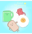 Breakfast cute happy vector image