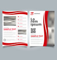 brochure template curve lines red color scheme vector image vector image