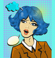 business woman surprised pop art comic style vector image vector image