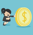 businesswoman and money coin vector image vector image
