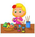 Cartoon girl painting Easter egg vector image