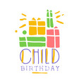 child birthday promo sign childrens party vector image vector image