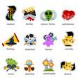 cinema genre icons set flat comedy drama vector image vector image