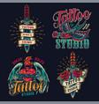 Colorful tattoo studio vintage logos